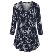 Laksmi Womens Floral Tunic Tops 3/4 Sleeve V Neck Pleated Casual Tunic Blouse - Tunic - $29.99