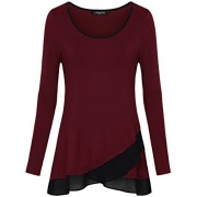 Laksmi Womens Long Sleeve Chiffon Stitching Crew Neck A Line Casual Layered Tunic Shirts - Shirts - $49.99