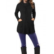 Laksmi Womens Long Sleeve Funnel Neck Casual Pleated Tunic Sweatshirt Tops With Pockets - Shirts - $59.99