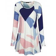 Laksmi Womens Long Sleeve Geometric Print A Line Stretchy Long Tunic Shirts - Shirts - $49.99