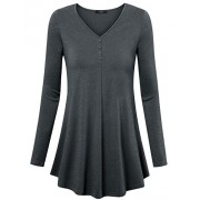 Laksmi Womens Long Sleeve Solid Tunic Tops Loose Comfy Shirts With Front Button Embellished - Shirts - $59.99