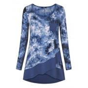 Laksmi Womens Long Sleeve Tie Dye Shirts Flowy Crossover Chiffon Trim Front Pocket Tunic Tops - Shirts - $49.99