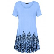 Laksmi Womens Printed Flow Tunic Shirts, Short Sleeve Scoop Neck A Line Loose Fit Casual Top - Shirts - $15.99