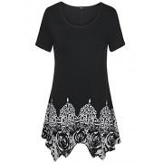 Laksmi Womens Printed Short Sleeve Scoop Neck Asymmetrical Hem A Line Casual Flow Tunic Top Shirts - Shirts - $59.99