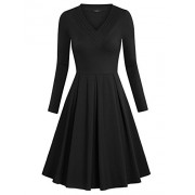 Laksmi Womens Solid V Neck Long Sleeve Empire Waist Pleated Loose Casual Midi Dress - Dresses - $49.99