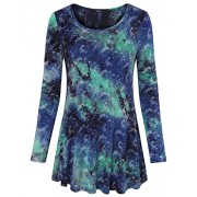 Laksmi Womens Tie Dye Shirts Long Sleeve Flare Hem Comfy Loose Casual Tunic Tops - Tunic - $29.99