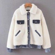 Lamb fur coat lapel single-breasted cott - Jacket - coats - $35.99