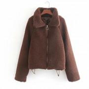 Lamb fur coat small lapel zipper cotton - Jacket - coats - $39.99