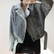 Lamb wool denim jacket cotton jacket zip - Jacken und Mäntel - $45.99  ~ 39.50€
