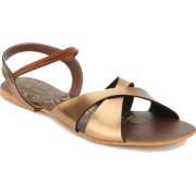 Lamere Fancy Antic Gold Flat Sandals - Sandals -
