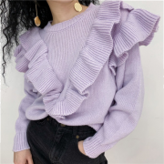 Laminated decorative ruffled knit sweate - Pullovers - $35.99