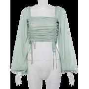 Lantern Sleeve Square Collar Drawstring - Košulje - kratke - $25.99  ~ 165,10kn