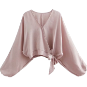 Lantern sleeves gentle pink shirt - Shirts - $25.99