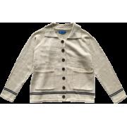 Lapel stitching striped pocket loose k - Jacket - coats - $39.99