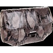 Lauren Merkin Blair Shiny Python Clutch Grey/Black - Clutch bags - $350.00