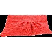 Lauren Merkin Louise Raffia Clutch Bright Coral - Clutch bags - $200.00