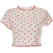 Leaked belly button cute girl cherry top - Shirts - $23.99