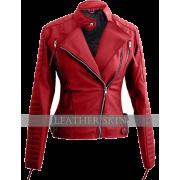 Leather Skin Red Women Ladies Brando Sty - Chaquetas - $99.00  ~ 85.03€