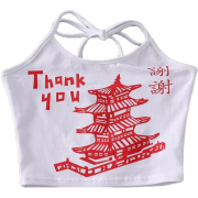 Leifeng Tower Print Lace Camisole - Vests - $15.99
