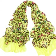 Leopard Long Cotton Scarves Winter Light Weight Scarf for Gilrs Neo Yellow - Scarf - $18.00