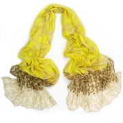 Leopard Print Long Cotton Scarves Early Autumn Scarf Yellow - Scarf - $18.00