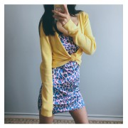 Leopard Velvet Strap Split Dress + Yellow Knit Cardigan - Dresses - $25.99