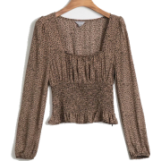 Leopard fashion square collar pullover s - Košulje - kratke - $25.99  ~ 22.32€