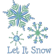 Let it Snow Snowflake Embroidery Element - イラスト -