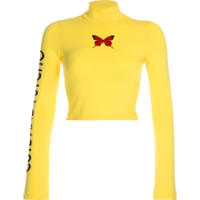 Letter Butterfly Print High Collar Long - Long sleeves t-shirts - $19.99