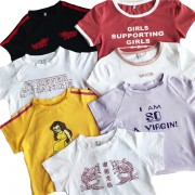Letter embroidery sexy solid color short - T-shirts - $15.99