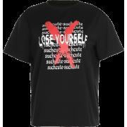 Letter print loose wild black street t-s - Shirts - $25.99
