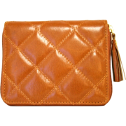 Light Brown Quilted Buxton Zip Slim Cardex Wallet - Wallets - $29.99