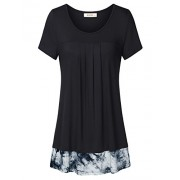 Lingfon Women's Scoop Neck Short Sleeve Pleated Front Stitching Tie-Dyed Tunic Shirt - Shirts - $39.99