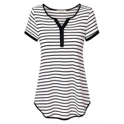 Lingfon Women's Short Sleeve Henley V Neck Casual Loose Striped Shirt Top - Shirts - $39.99