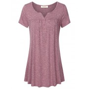 Lingfon Women's Short Sleeve Henley V Neck Pleated Button Details Tunic Shirt - Shirts - $39.99