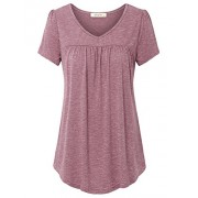 Lingfon Women's Short Sleeve V Neck Pleated Front Tunic Shirt - Shirts - $39.99