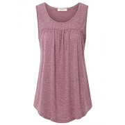 Lingfon Women's Sleeveless Scoop Neck Casual Pleated Front Tank Shirt - Shirts - $39.99