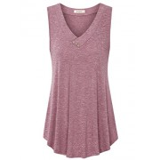 Lingfon Women's Sleeveless V Neck Casual Shirt Flowy Tank Top - Shirts - $39.99