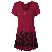 Lingfon Women's V Neck Short Sleeve Vintage Floral Printed Comfy Tunic Shirt - Shirts - $39.99
