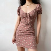 Little flowers simple chest hollow bow puff sleeve short sleeve dress - sukienki - $32.99  ~ 28.33€