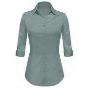 Lock and Love LL WT1947 Womens 3/4 Sleeve Tailored Button Down Shirts - Shirts - $14.89