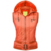 Lock and Love LL Womens Belted Zip Up Hoodie Vest with Inner Fleece - Outerwear - $38.50
