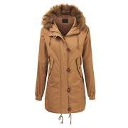 Lock and Love LL Women's Casual Military Safari Anorak Jacket with Hoodie - Outerwear - $23.09