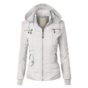 Lock and Love LL Womens Faux Leather Zip Up Bomber Jacket With Hood - Outerwear - $39.90