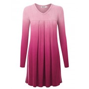 Lock and Love LL Womens V-Neck Long Sleeve Ombre Pleats Tunic Dress Top - Shirts - $28.50