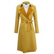Lock and Love WJC1613 Womens Suede Coats Long Duster Jacket Trench Coat with Belt - Outerwear - $71.27