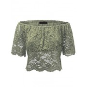 Lock and Love WT1772 Womens Strapless Floral Crochet Lace Off Shoulder Crop Top - Shirts - $24.21