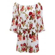 Lock and Love Womens 3/4 Sleeve Floral Printed Off Shoulder Romper - Pants - $32.79