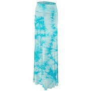 Lock and Love Women's Basic Solid Tie Dye Foldable High Waist Floor Length Maxi Skirt S-3XL Plus Size_Made in U.S.A. - Faldas - $9.98  ~ 8.57€