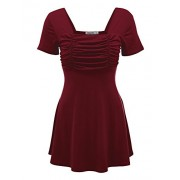 Lock and Love Womens Short Sleeve Ruched Empire Tunic Top - Made in USA - Shirts - $32.79